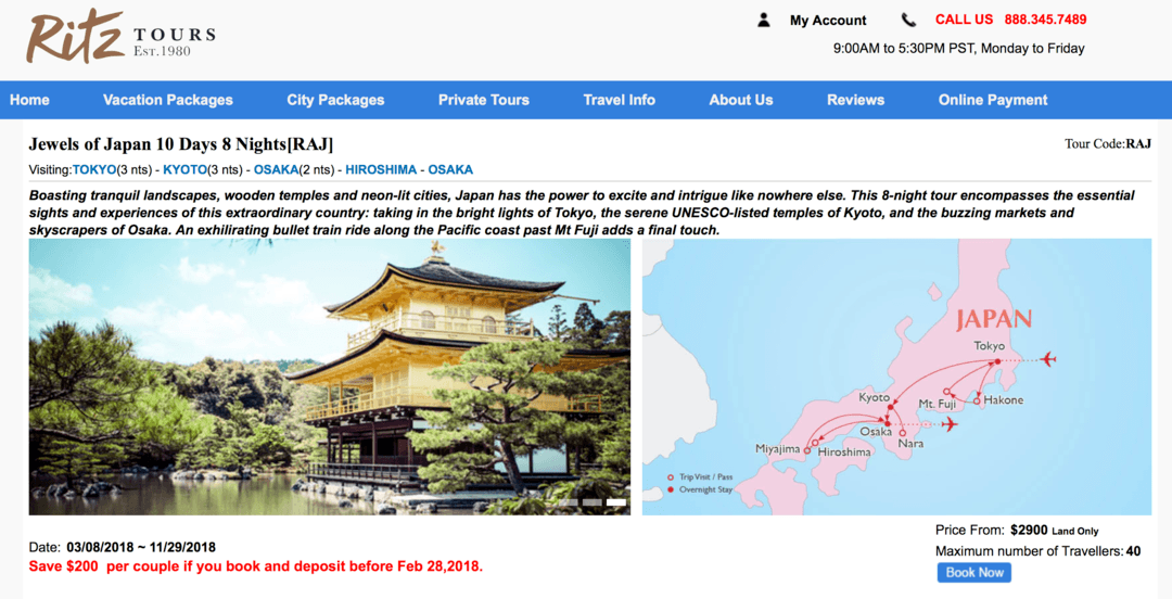 Experience Affordable Asia Ritz Tours Jewels of Japan 🛫 🌏 🇯🇵